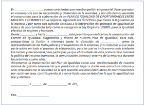 Modelo de carta de compromiso de la empresa